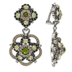 Pendientes de oro blanco en color verde. Medianos. Con cristales