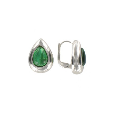 EARRING - PLATED: SILVER - IN COLOURS: GREEN