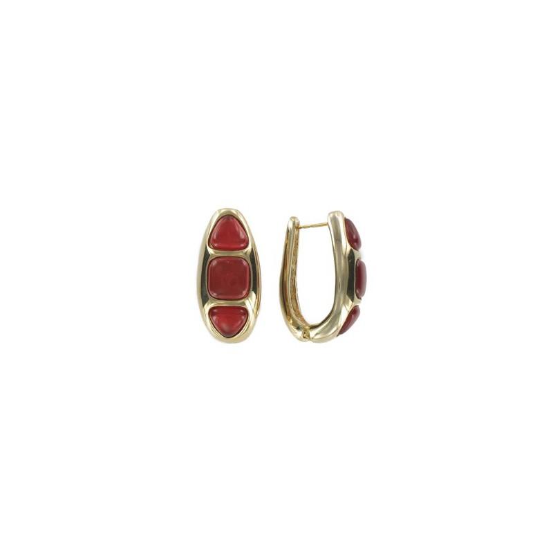 Baño De Color Rojo Pelo:en alta bisutería > Pendientes > Pendientes de oro en color rojo
