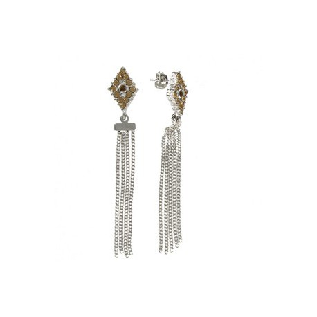 EARRING - PLATED: RHODIUM - IN COLOURS: BROWN