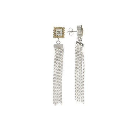 EARRING - PLATED: RHODIUM - IN COLOURS: WHITED, TOPAZ