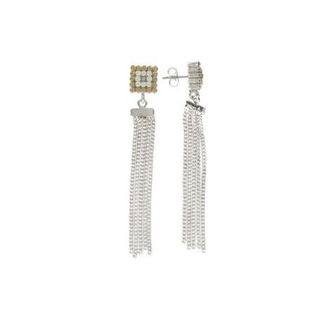 Pendientes de oro blanco en colores topacio, blanco. Largos. Con cristales