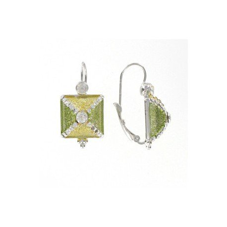 EARRING - PLATED: RHODIUM - IN COLOURS: GREEN