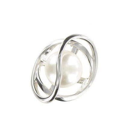 Sortija-Anillo de oro blanco. Grande. Con perlas