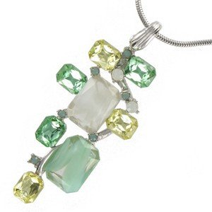 NECKLACES - PLATED: RHODIUM - IN COLOURS: GREEN, WHITED