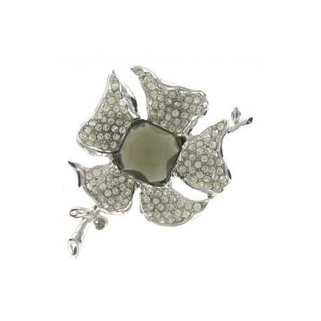 Broche de oro blanco con piedra central de circonio en color verde. Grande. Con ston en cristal