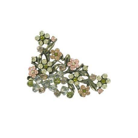 Broche Plata Antigua Oro Verde Vegetal