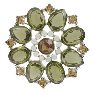 BROOCHES - PLATED: RHODIUM - IN COLOURS: GREEN