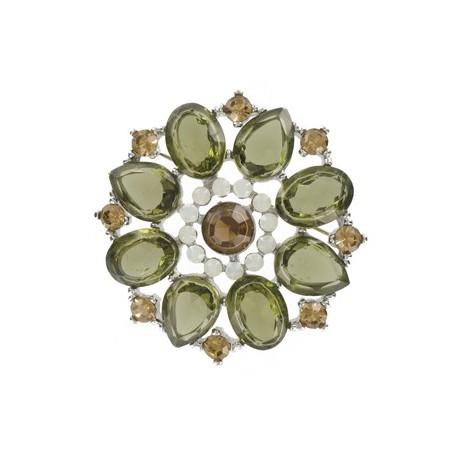 Broche Oro Blanco Cristales Verde Marrón