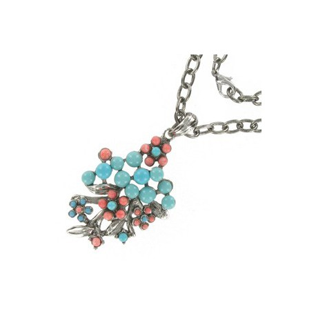 NECKLACES - PLATED: ANTIQUE SILVER - IN COLOURS: TURQUOISE, CORAL
