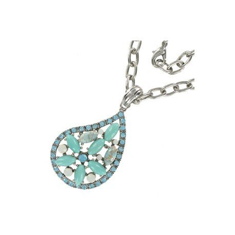 NECKLACES - PLATED: RHODIUM - IN COLOURS: TURQUOISE
