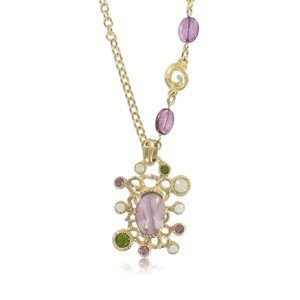 NECKLACES - PLATED: GOLD - IN COLOURS: PINK