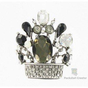 Broche de plata antigua en colores blanco, negro. Mediano. Con cristales