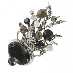 BROOCHES - PLATED: ANTIQUE SILVER - IN COLOURS: BLACK