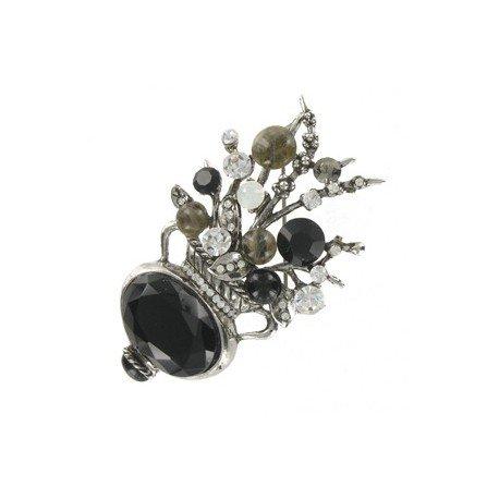 Broche de plata antigua en color negro. Mediano. Con cristales