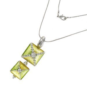 NECKLACES - PLATED: RHODIUM - IN COLOURS: GREEN