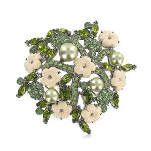 BROOCHES - PLATED: ANTIQUE SILVER - IN COLOURS: GREEN