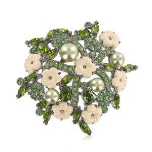 Broche Plata Antigua Cristales Verde
