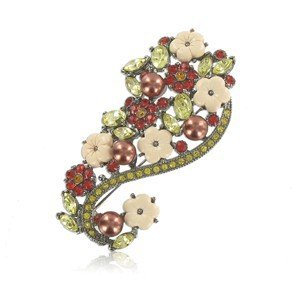 BROOCHES - PLATED: ANTIQUE SILVER - IN COLOURS: PREVAILING COLOUR RED, YELLOW