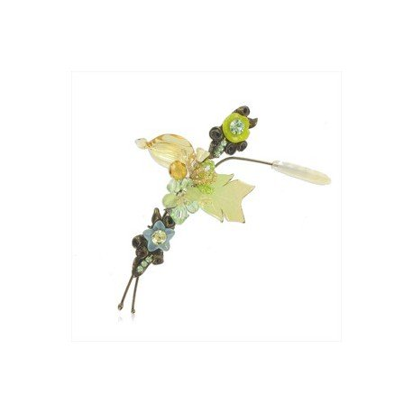 BROOCHES - PLATED: GOLD - IN COLOURS: YELLOW, GREEN