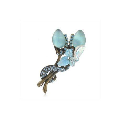 Broche Oro Antiguo Vintage Cristales Azul