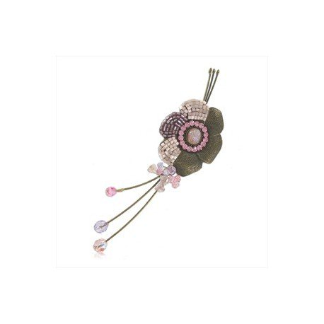 Broche Oro Antiguo Vintage Violeta Rosa