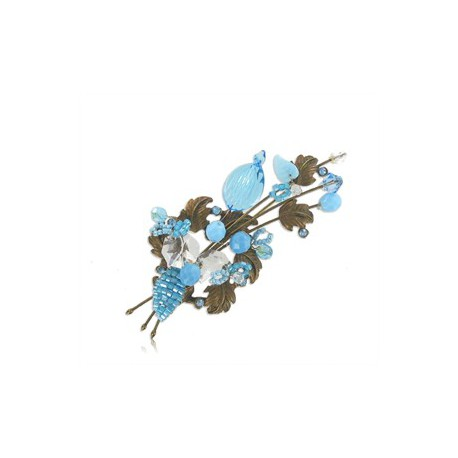 BROOCHES - PLATED: GOLD - IN COLOURS: BLUE, TURQUOISE