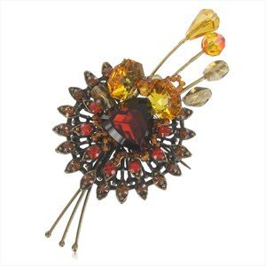 Broche Oro Antiguo Vintage Cristal Multicolor