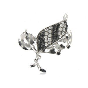 BROOCHES - PLATED: RHODIUM - IN COLOURS: WHITED, BLACK, CRYSTAL