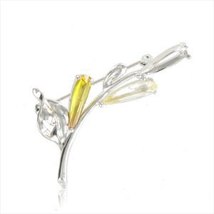 Broche Oro Blanco Cristal Amarillo Blanco