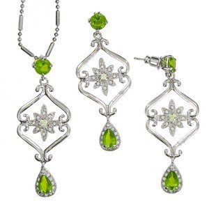 SETS - PLATED: RHODIUM - IN COLOURS: GREEN