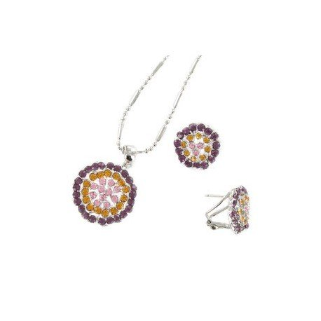 SETS - PLATED: RHODIUM - IN COLOURS: PURPLE, TOPAZ, PINK, MULTICOLOR