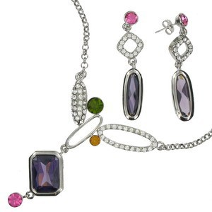 SETS - PLATED: RHODIUM - IN COLOURS: PURPLE, CRYSTAL, PINK