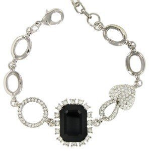 BRACELETS - PLATED: RHODIUM - IN COLOURS: BLACK, CRYSTAL