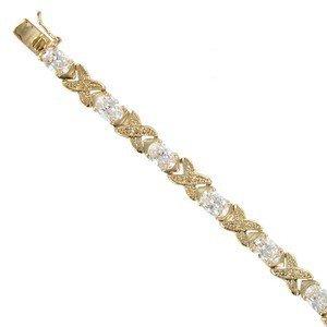 Pulsera de oro en color cristal. Con circonitas