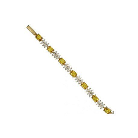 Pulsera de oro en colores cristal, amarillo. Con circonitas