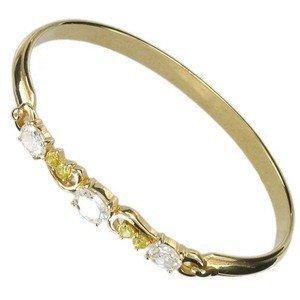 Pulsera de oro en colores amarillo, cristal. Con circonitas