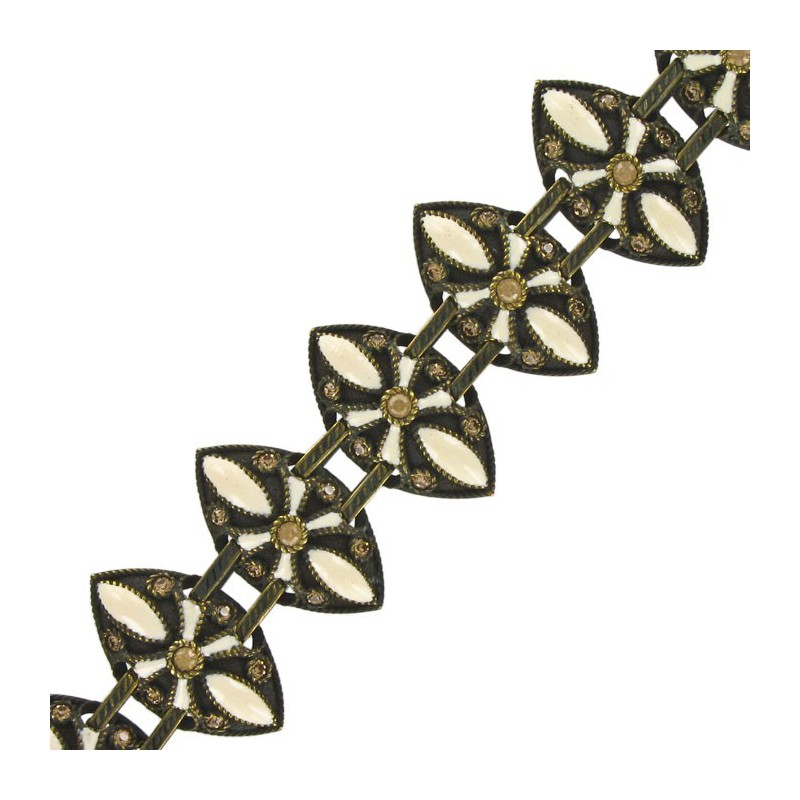Traje Baño Hombre Antiguo: Pulseras > Pulsera de oro antiguo en color blanco Con adornos esmalte