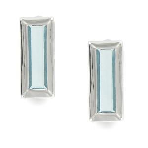 Pendientes de plata en color azul. Cortos. Con circonitas. Cierre a presión.