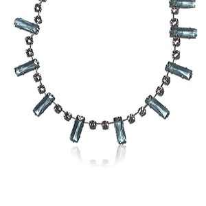 NECKLACES - PLATED: SILVER - IN COLOURS: BLUE