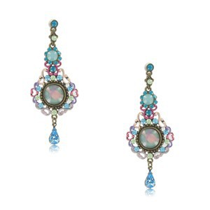 EARRING - PLATED: ANTIQUE GOLD - IN COLOURS: MULTICOLOR