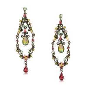 Pendientes de oro antiguo en color multicolor. Largos. Con cristales