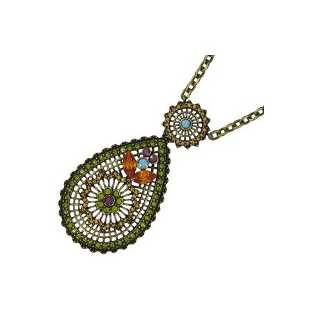NECKLACES - PLATED: ANTIQUE GOLD - IN COLOURS: MULTICOLOR
