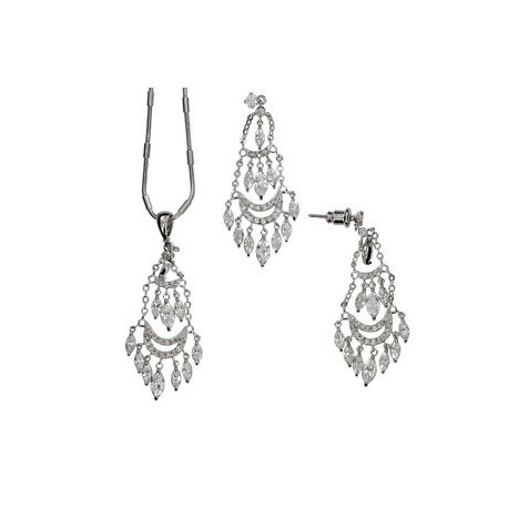 SETS - PLATED: RHODIUM - IN COLOURS: CRYSTAL