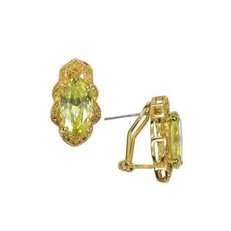 Pendientes de oro en colores topacio, amarillo. Cortos. Con circonitas, cristales