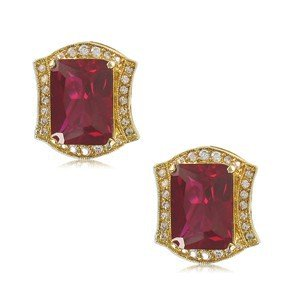 EARRING - PLATED: GOLD - IN COLOURS: PREVAILING COLOUR RED