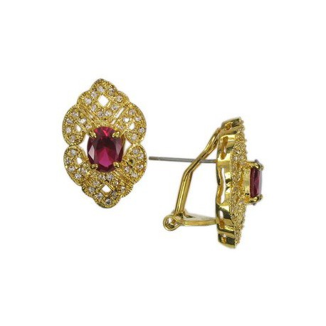 EARRING - PLATED: GOLD - IN COLOURS: PREVAILING COLOUR RED, CRYSTAL