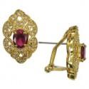 Pendientes de oro en colores cristal, rojo. Cortos. Con cristales, circonitas
