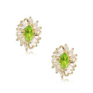EARRING - PLATED: GOLD - IN COLOURS: GREEN, CRYSTAL