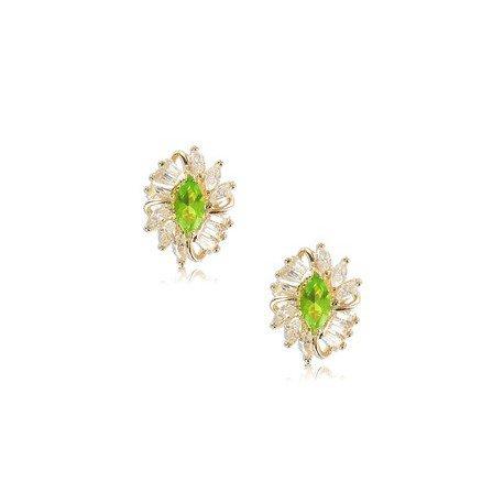 Pendientes de oro en colores cristal, verde. Cortos. Con circonitas